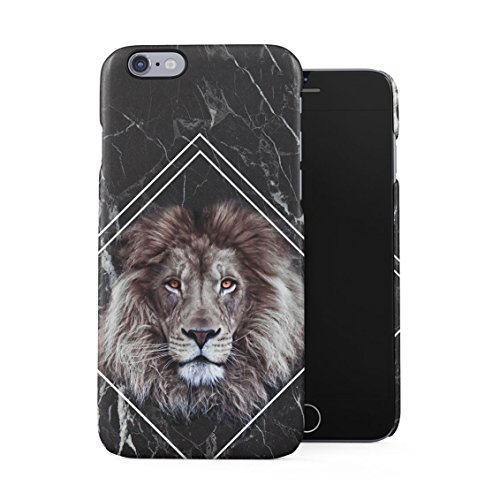 Jungle Safari King Lion Mane Head Black Marble Block Plastic Phone Snap On Back Case Cover Shell for iPhone 6 & iPhone 6s