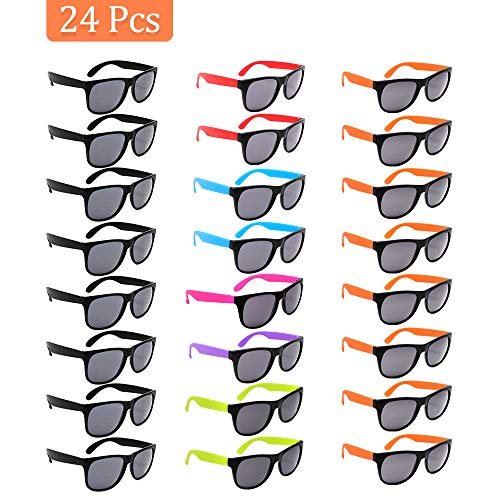 VCOSTORE Neon Sunglasses Party Favor Bulk, 24 Pack Retro Party Eyewear Sunglasses Shade with Black Lens in Colored Handle, Party Glasses for Kids and Adults Pool Party, Gifts, Goodie Bag Fillers ()