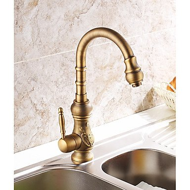 AMEA Antique Vessel Rotatable with Ceramic Valve Antique Brass , Kitchen faucet , north america