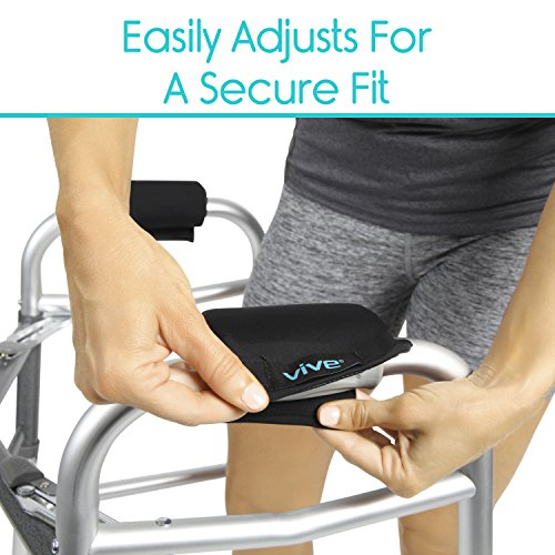 Vive Walker Padded Hand Grip Covers- Soft Cushion Padding Medical Accessories for Folding Rolling Walker, Rollator Handle, Senior, Elderly Grippers - Crutch Handle Pads - Mobility Aid Hand Cushion by Vive (Image #3)