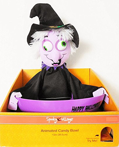12 Inch Animated Purple Witch Plush Candy Bowl - Halloween Phrases and Sounds