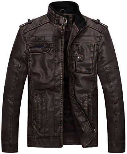 Winchester Jacket - Wantdo Men's Vintage Stand Collar Faux Leather Jacket - US Large - Coffee