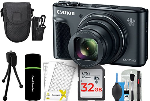 Canon PowerShot SX730 Digital Camera w/40x Optical Zoom & 3 Inch Tilt LCD – Wi-Fi, NFC, Bluetooth Enabled (Black) + 32GB Card + Reader + Case + DigitalAndMore Accessory Bundle