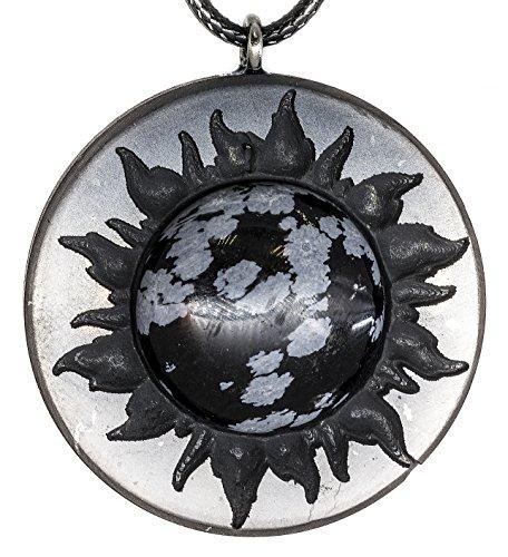 Keled Rocks Pendant Necklace Shungite and Snowflake Obsidian Gemstone for Men Women