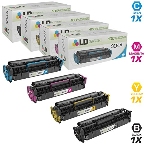 Hp Cc531a Cyan Toner (LD Compatible Replacements for HP 304A Set of 4 Toner Cartridges: 1 CC530A Black, 1 CC531A Cyan, 1 CC533A Magenta, and 1 CC532A Yellow)