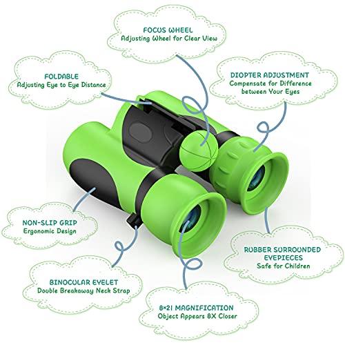 Kizmyee Binoculars for kids Shock Proof Binoculars kids Powerful Binoculars Magnification 8X21 lightweight Compact Telescope Toy Gifts for Boys and Girls (Premium)