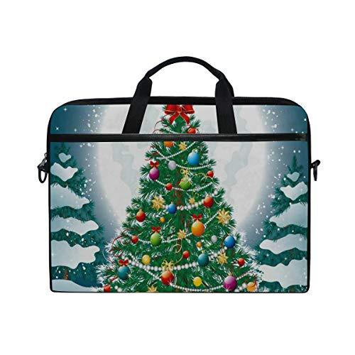 Christmas Tree Snow Full Moon 14-15 inch Laptop Case Computer Shoulder Bag Notebook Tablet Crossbody Briefcase Messenger Sleeve Handbag with Shoulder Strap Handle for Women Men Girls Boys