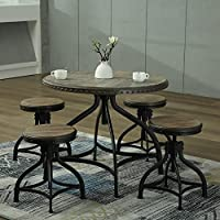 Modern Bar Counter Height Table Stool Kitchen Breakfast Adjustable Solid Wood Dining Set (Table + 4 chairs)