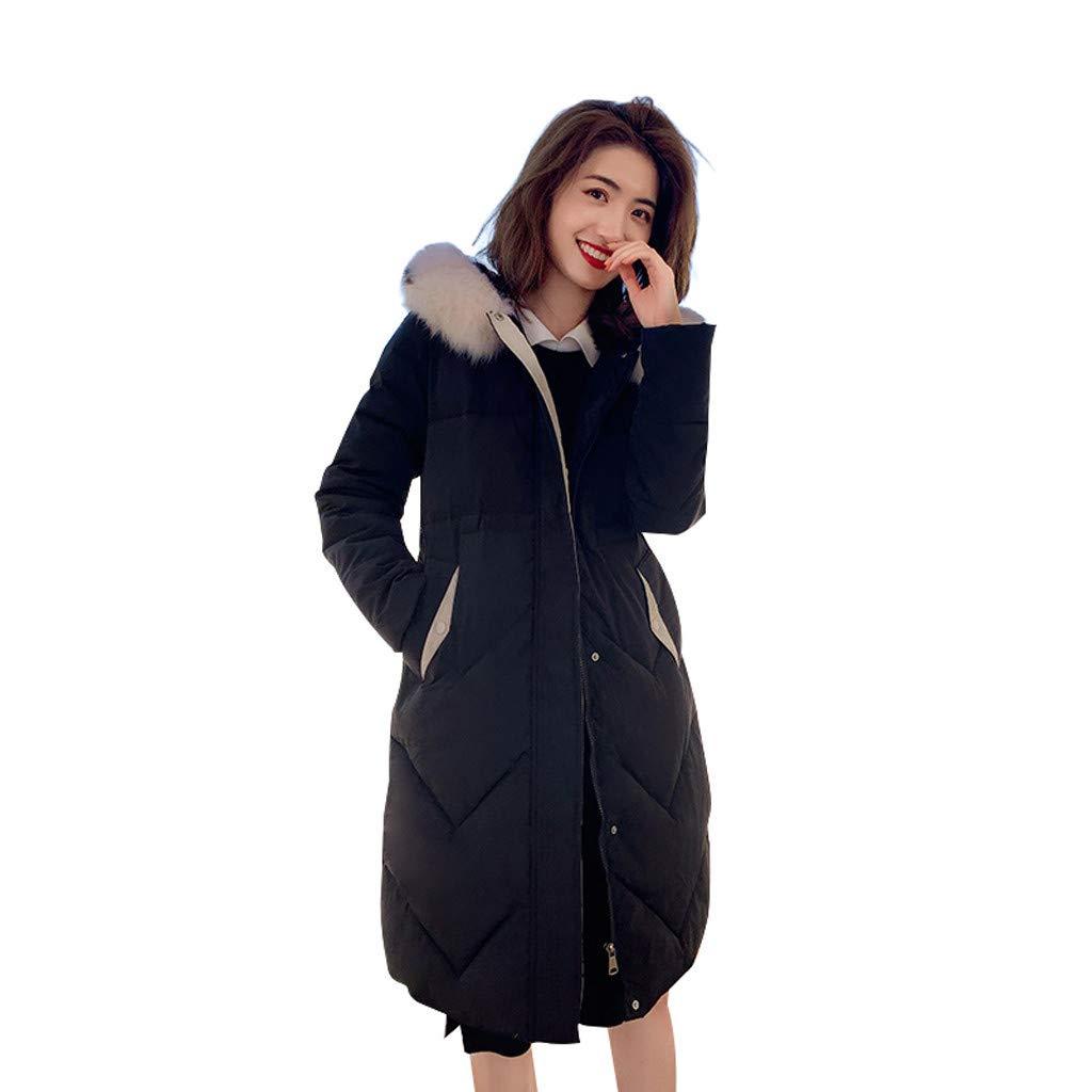 Allywit- Women Winter Warm Coat Parkas Overcoat Faux Fur Hooded Outwear Puffer Down Jacket Black by Allywit- Women