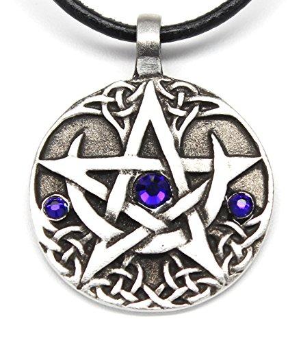 Trilogy Jewelry Pewter Lunar Pentagram Pendant on Leather w/Swarovski Crystal Cobalt Blue September Birthday ()