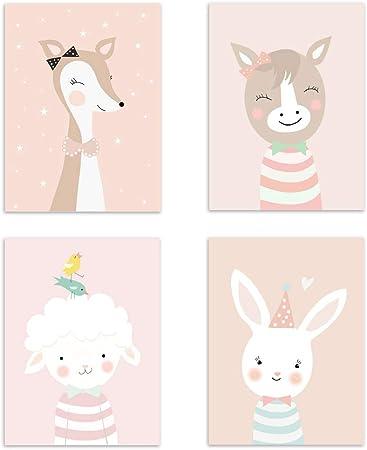 Format DIN A4 Lot de 4 affiches pour chambre denfant//b/éb/é Safari scandinave avec animaux sauvages Passe-partout personnalisable 4er-a D/écoration pour gar/çon et fille