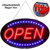 Fitnate Neon Open Sign, 23x14inch Larger LED Business Sign, Advertisement Display Board, Two Modes Flashing & Steady Light,Super Bright F8 LED for Business, Walls, Window, Shop, bar, Hotel