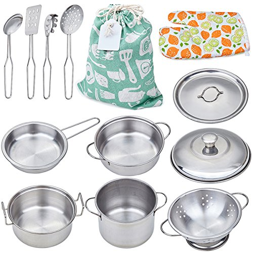 Play Pots and Pans Toys for Kids - Kitchen Playset Pretend Cookware Mini Stainless Steel Cooking Utensils Development Toys for Toddlers & Children Ages 3 Years and -