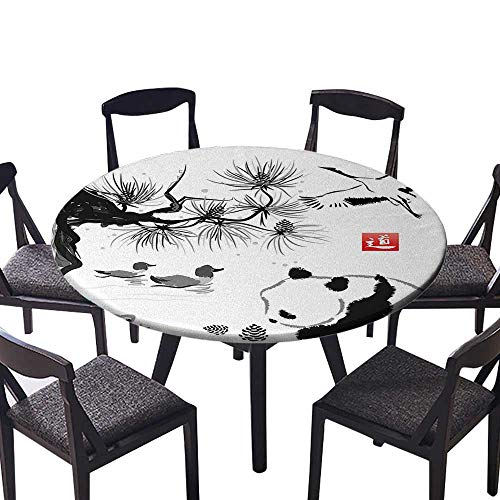 "Round Table Tablecloth Bird Cedar Panda Bear Traditional Japanese Painting Style Art Hieroglyph Image Machine Washable 47.5""-50"" Round (Elastic Edge)"
