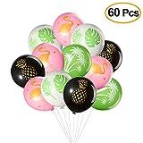 TUPARKA 60Pcs Hawaiian Luau Tropical Party Balloons, Flamingo, Palm Tree, Pineapple, Tropical Leaves Design Latex Balloons for Hawaiian Wedding Birthday Baby Shower Party Favors Supplies