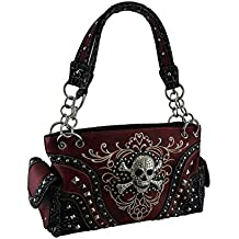 Vinyl Womens Shoulder Handbags Embroidered Concealed Carry Rhinestone Skull Studded Purse
