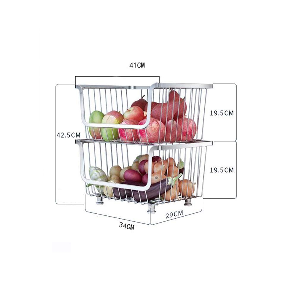 Bookcases Home Kitchen Rack 304 Stainless Steel, Shelf Kitchen Fruit and Vegetable Storage Rack, Thick Floor Multi-Layer Household Fruit and Vegetable Storage Storage Basket Yixin