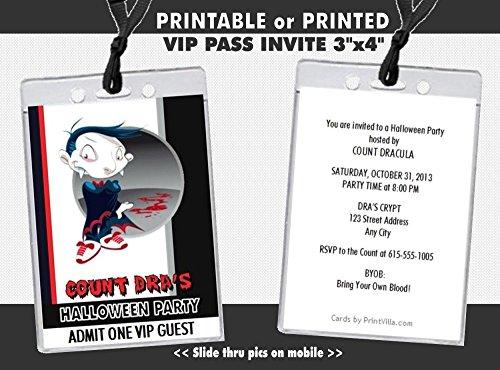 Vampire Cartoon Halloween Party VIP Pass Invitation, Printable or Printed Option