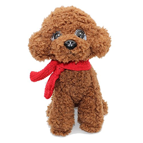 Vintoys Poodle Plush Puppies Stuffed Animals Dogs Plush Toy with Scarf Brown 9
