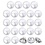 uxcell 24pcs Furniture Tack Nails 12mm Dia Round Head Diamond Shape Glass Thumbtack DIY Sofa Buttons Headboard Crafts Decorate Silver Tone