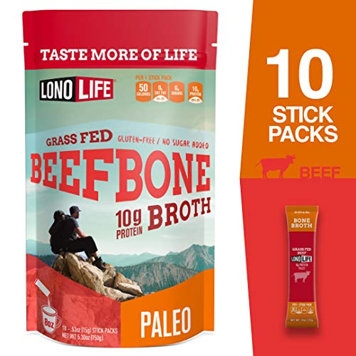 - LonoLife Grass-Fed Beef Bone Broth Powder with 10g Protein, Stick Packs, 10 Count