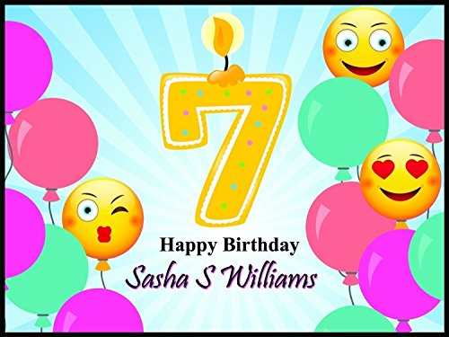 Custom Home Decor Еmoji Balloons Birthday Poster for Kids - Size 24x36, 48x24, 48x36; Happy Birthday Banner With Balloons, Sun Shine Stripes, and a Number Candle - Handmade Party Supply Poster Print