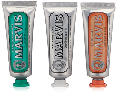 Marvis Travel with Flavor Set, Classic/Whitening/Ginger (Toothpaste Mint Classic)
