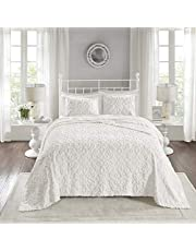 """Madison Park Chenille Tufted 100% Cotton Quilt All Season, Lightweight, Breathable Coverlet Bedspread Bedding Set, Matching Shams, Oversized Full/Queen(102""""x118""""), Sabrina, White"""