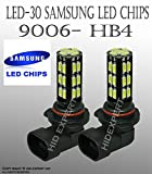 ICBEAMER 9006 HB4 12V 30W Canbus 30 LED Replace Halogen Lamps Work on Fog Light Only [Color: Super White] [Pack of 2]