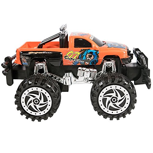 TukTek Mini Monster Truck Toy Friction Powered Super Jacked Up Push Car for Kids Boys & Girls