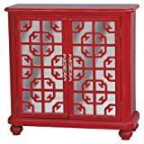Accent Storage Cabinet with Twin Mirrored Doors, 2 Shelves, Traditional Style, Adjustable Shelf, Space Save, Living Room, Family Room, Den, Bedroom, Red Color, Home Furniture