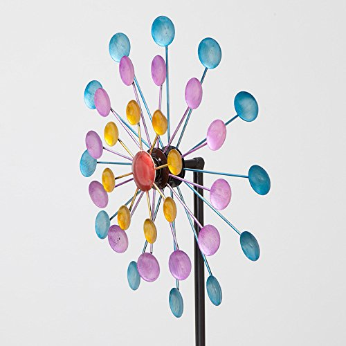 Bits and Pieces - Multi-Color Rainbow Dots Mini Kinetic Wind Spinner Stake - Metal Outdoor Windspinner Sculpture Lawn, Garden, and Yard Decor by Bits and Pieces (Image #4)