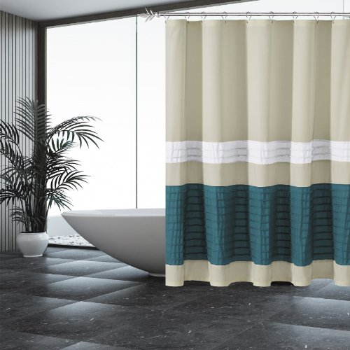 Sand Fabric Shower Curtain with Pintuck Teal and White accent (Beige And Teal Curtains)