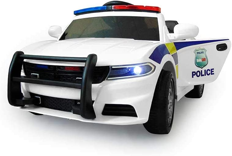 Babycar - Coche policía 12 V con Mando a Distancia 2.4 GHz Sirena – Intermitente – MP3 – Altavoz – Puertas abatibles: Amazon.es: Juguetes y juegos