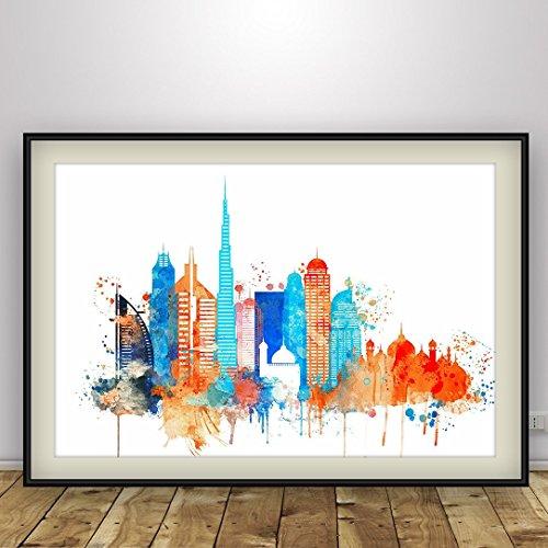 Dubai watercolor, Dubai UAE Cityscape Art Print, United Arab Emirates Dubai Skyline, City Poster, Skyline Print, Home Decor