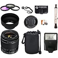 Canon EF-S 18-55mm f/3.5-5.6 IS II Lens + Pouch + Filter Kit + Flash + Lens Cleaner + Digital Camera Lens Accessories Bundle