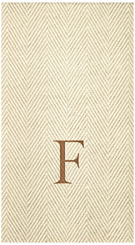 Entertaining with Caspari Jute Herringbone Paper Linen Guest Towels, Monogram Initial F, Pack of (Monogram Paper)