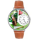 Golf Bag Tan Leather And Silvertone Watch #WG-U0810002