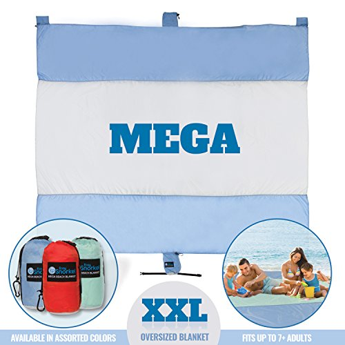 Easy Snorkel Mega Sand Proof Beach Blanket - XXL Oversized Blanket | 80% Larger Than Other Travel/Picnic Blankets. Huge 10' x 9.5' Family Size fits 7+ Adults. Perfect Hiking, Camping Festivals