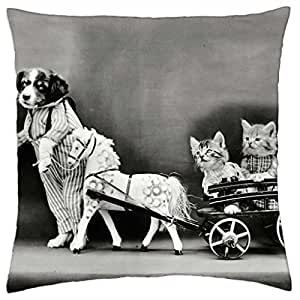 Cats and dog - Throw Pillow Cover Case (18