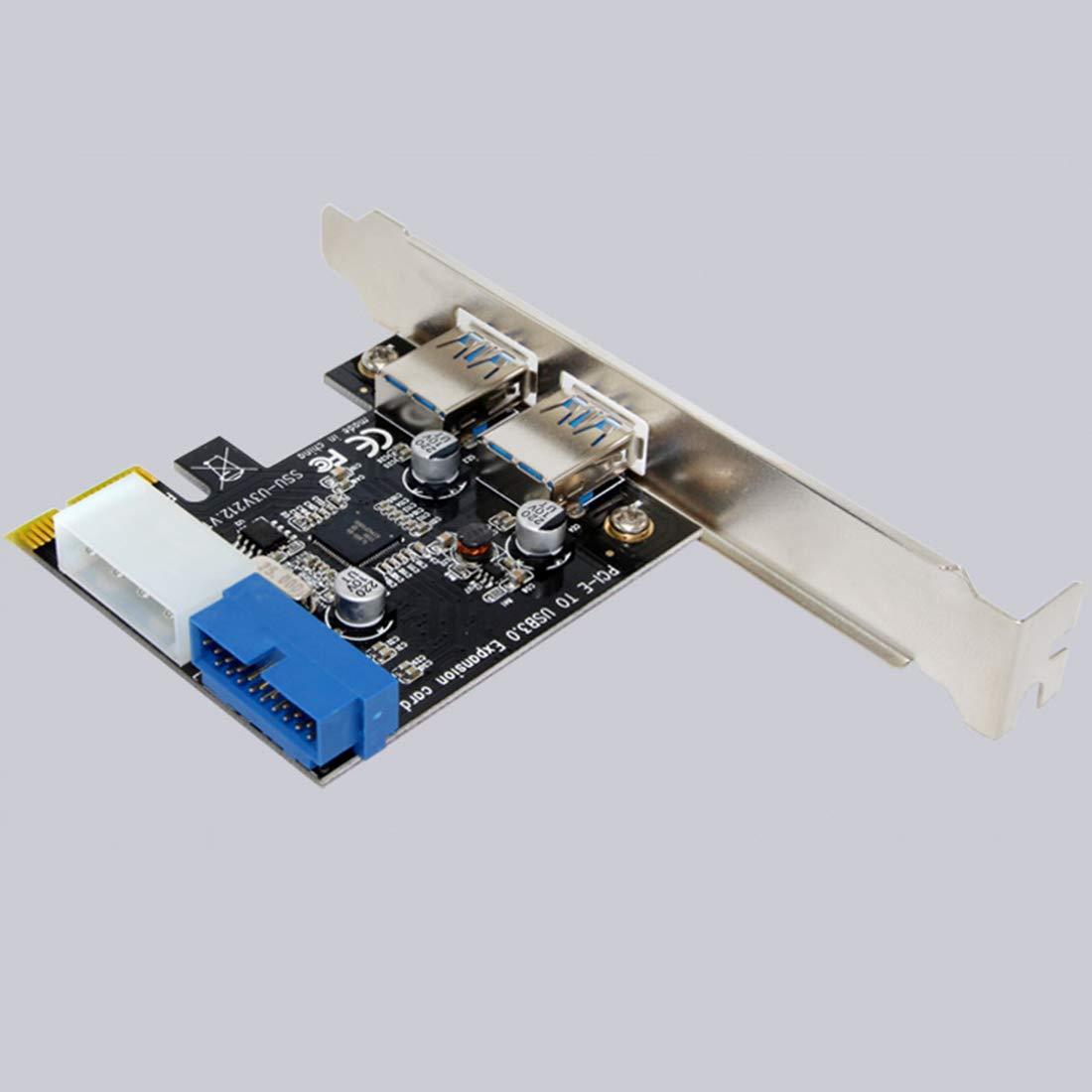 NoyoKere Tarjeta de expansi/ón PCI-E USB 3.0 Externa 2 Puertos USB3.0 Conector Interno de 19 Pines Tarjeta PCIe Conector de alimentaci/ón IDE de 4 Pines