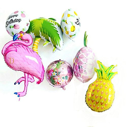 7PCS Flamingo Pineapple Palm Tree Tropical Theme Birthday Party Summer Party Baby Shower Decorations Kit (Colorful) -