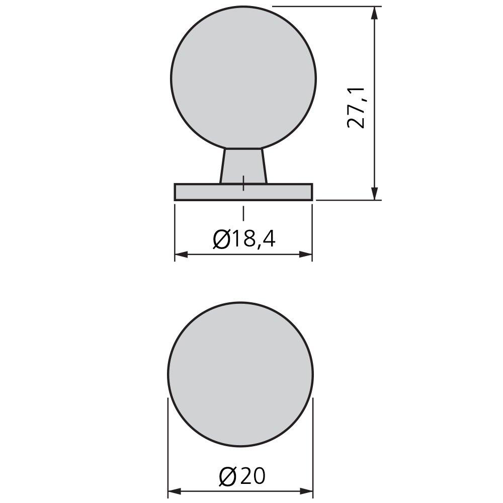Set de 25 Piezas Niquel satinado Emuca 9162051 Pomo para Mueble /Ø25mm