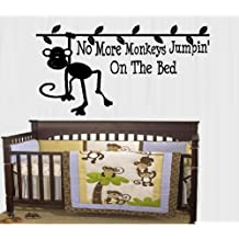"NO MORE MONKEYS JUMPIN' ON THE BED #2 ~ WALL DECAL, HOME DECOR 13"" X 25"""