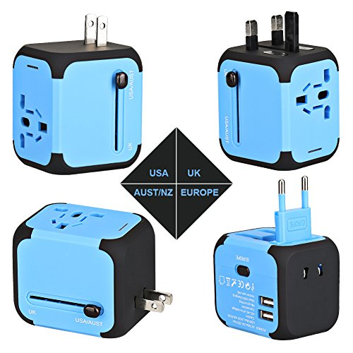 Travel Adapter, AC Adapter Charger All-in-One US UK EU AU Plugs Worldwide Universal Wall Charger with Dual USB Ports(Blue) (Electric Converter Current)