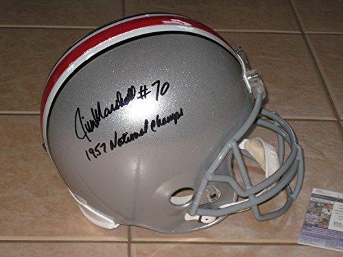 (Jim Marshall #76 signed Ohio State Buckeyes Full Size Replica Helmet - National Champs - JSA)