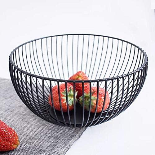 Countertop Black Kitchen FanDuo Metal Wire Fruit Basket Decorative Metal Frame Fruit Bowl Dessert Organizer for Living Room