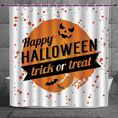 Stylish Shower Curtain 2.0 [ Halloween,Happy Halloween Trick or Treat Watercolor Stains Drops Pumpkin Face Bats,Orange Black White ] Digital Printing Polyester Antique Theme with Adjustable Hook