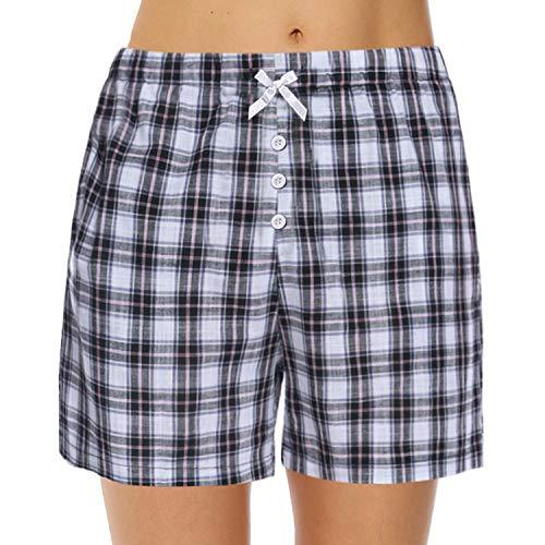 Hawiton Women's Plaid Cotton Sleeping Pajama Shorts Lounge Boxer Drawstring Bottoms (Black, X-Large)