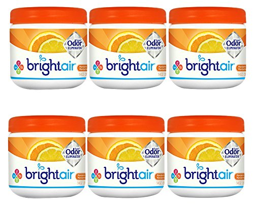 Bright Air Solid Air Freshener and Odor Eliminator, Mandarin Orange and Fresh Lemon Scent, 14 Ounces, (Pack Of 6) ()